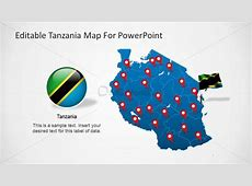 Editable Tanzania PowerPoint Map with Flag Icon SlideModel