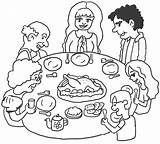 Dinner Thanksgiving Coloring Printable Pages sketch template