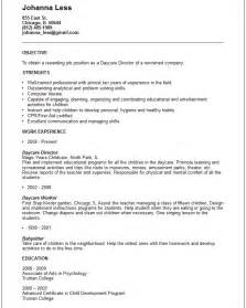 Work Resume Templates Daycare Worker Resume Exle Free Templates Collection