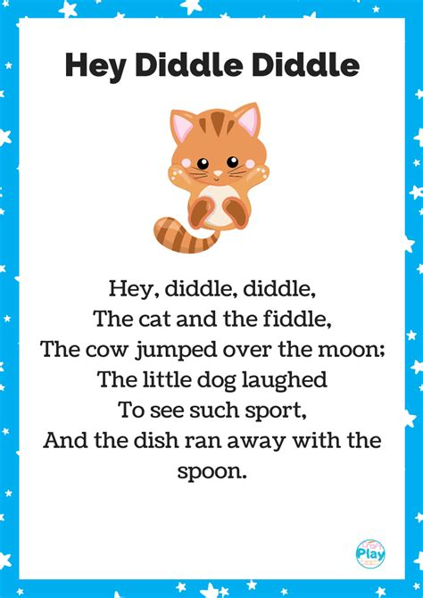 hey diddle diddle nursery rhyme  activity ideas craft