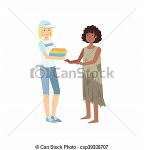 Vector Clipart of Girl Volunteer Giving Clean Clothes To ...