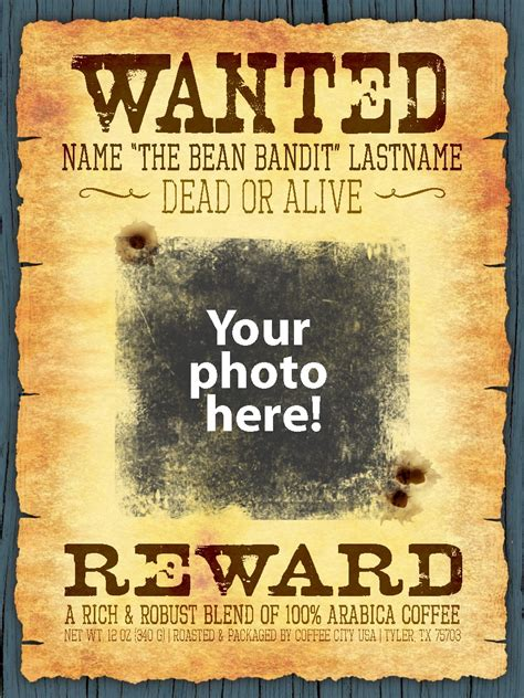 Personalized wanted poster 12-oz bag - Coffee City USA