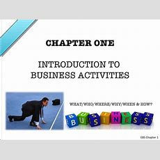 Ebs Chapter 1  Introduction To Business Activities