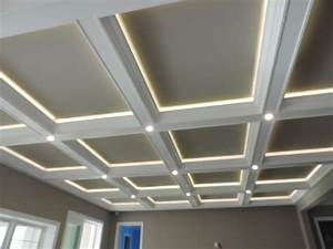 Ceiling: Coffered Ceiling With Lights Matched With Grey ...
