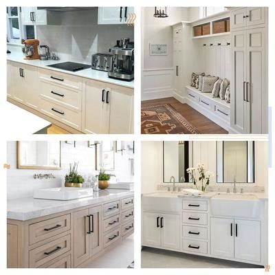 While some are unfinished some cabinets are finished. modern black cabinet hardware pulls on white cabinets (50 Pack) , LSJ1 - Goldenwarm