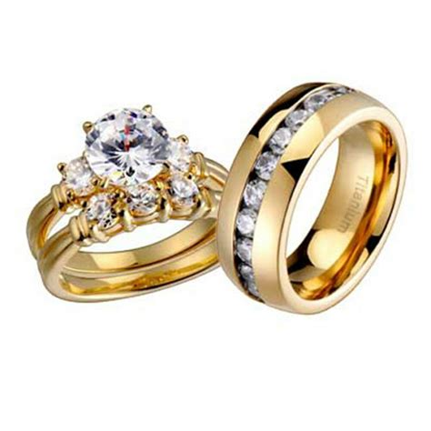 his and hers wedding rings 3 pcs engagement cz sterling silver titanium ebay
