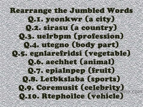 Rearrange These Jumbled Words