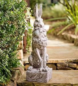 proud, hare, garden, statue