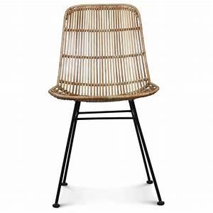 Chaise Rotin Metal : chaise en rotin naturel avec pied en m tal malaka ~ Teatrodelosmanantiales.com Idées de Décoration