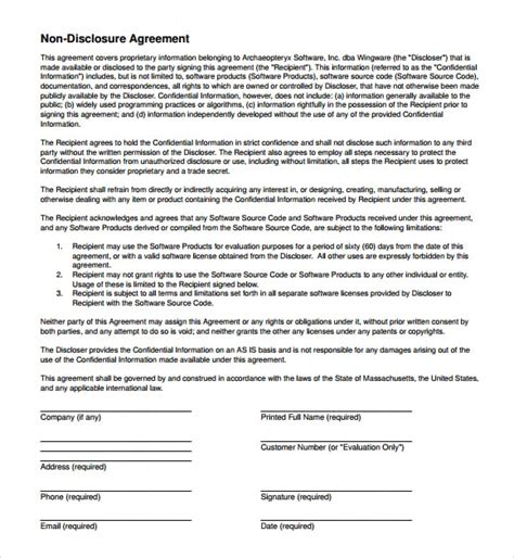 disclosure agreement templates fine word templates