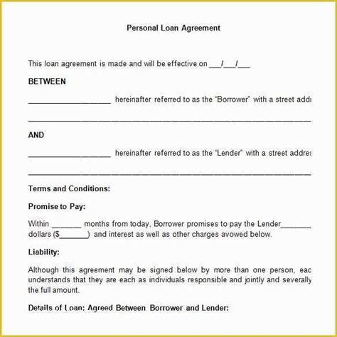 unsecured loan agreement template   certificate