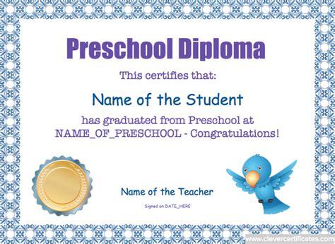 preschool diploma template preschool diploma template