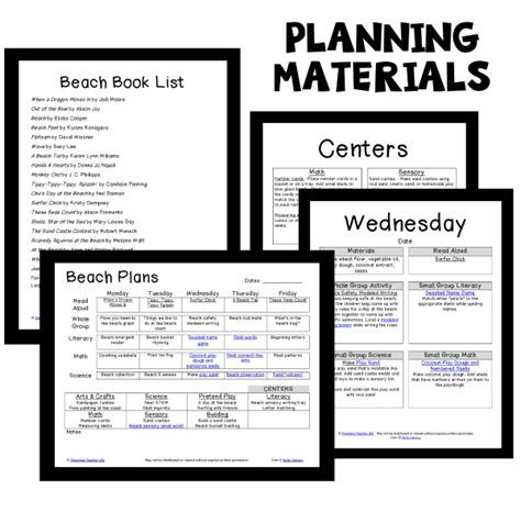 theme preschool classroom lesson plans preschool 304 | Beach PT Planning Materials