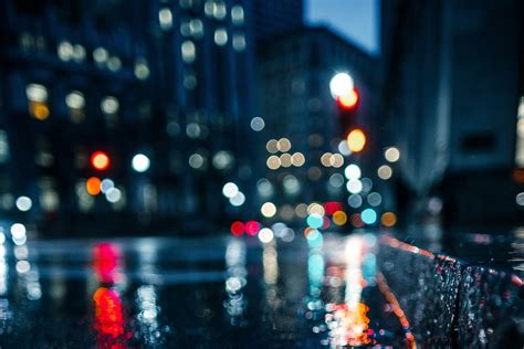 city rain blur bokeh effect hd photography  wallpapers