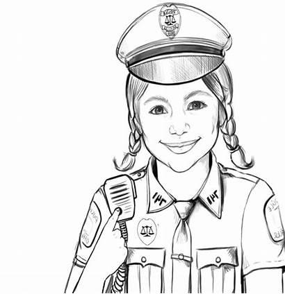Gambar Polisi Coloring Police Mewarnai Officer Wanita