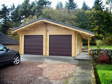 double garage   forest log cabins