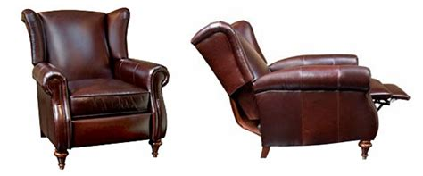 leather wingback recliner chair w rolled arms