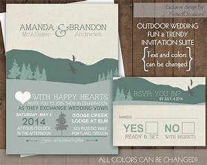 mountain wedding invitation set rustic wedding outdoor With wedding invitations with mountains