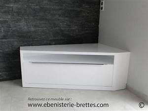 Meuble D Angle Tele : meuble de t l vision d 39 angle blanc brillant design avec rangements livr nantes en r gion pays ~ Teatrodelosmanantiales.com Idées de Décoration