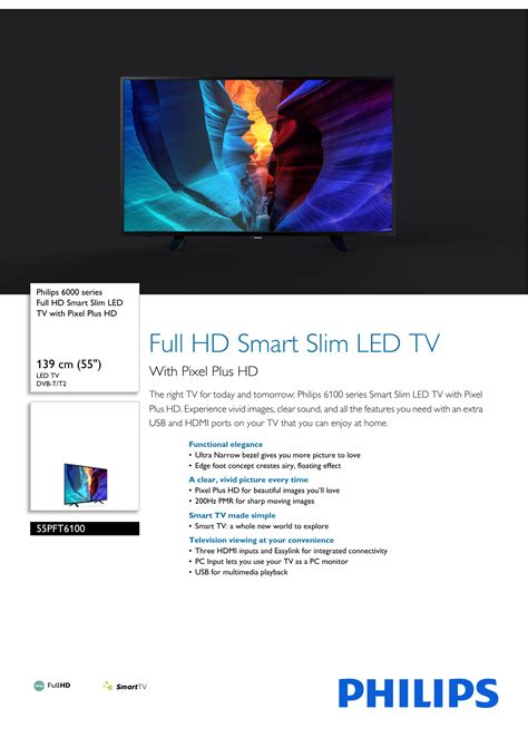 55PFT6100/56 Philips Full HD Smart Slim LED TV with Pixel