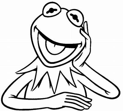Kermit Frog Coloring Pages Laughing Drawing Outline