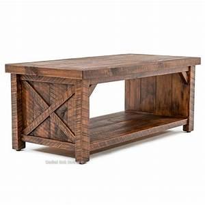 Weathered wood rustic barn door coffee table for Rustic door coffee table