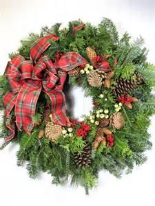 christmas wired ribbon fresh christmas wreath 22 wreath by