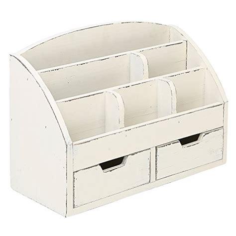 White Wood Desk Organizer by Mygift Vintage White Wood Desk Organizer 6 Compartment