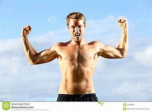 Strength - Strong Aggressive Fitness Man Flexing Stock ...