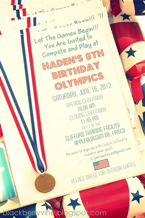 blackberry vine olympic party invitations olympic
