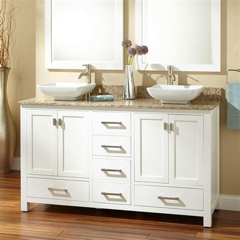modero double vessel sink vanity white bathroom