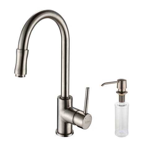 kitchen faucet with soap dispenser kraus single handle pull kitchen faucet with soap