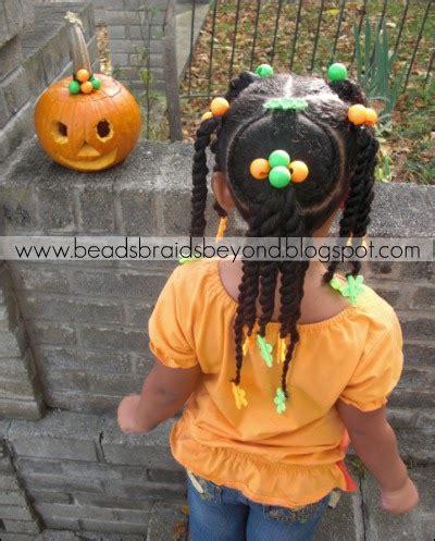 beads braids   halloween hair pumpkin head