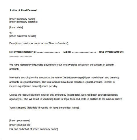 writing a demand letter demand letter templates 9 free word pdf documents 11233