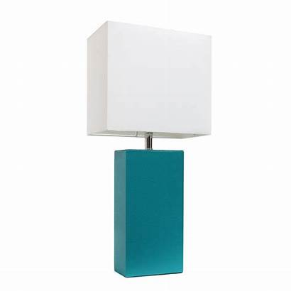 Teal Table Lamp Shade Modern Fabric Leather