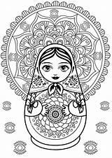 Mandala Russian Doll Coloring Dolls Eyes Elements Adult sketch template