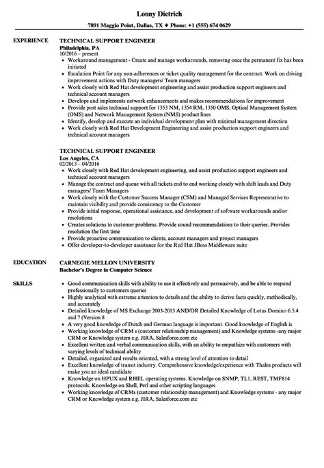 Technical Support Skills Resume by Resume Sle For Technical Support Engineer Danaya Us