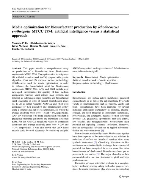 (PDF) Media optimization for biosurfactant production by