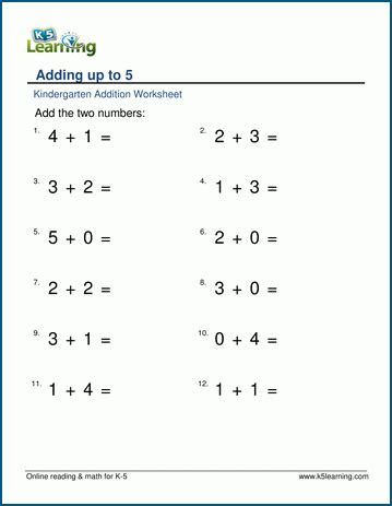 single digit addition worksheets for preschool and kindergarten k5 learning