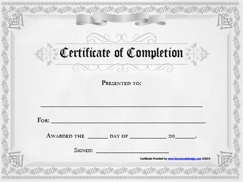 certificate  completion template word excel