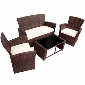 Salon de jardin avec table canape et 2 fauteuils resine for Tapis kilim avec canape de jardin en resine tressée