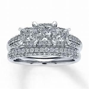 Bridal sets princess cut bridal sets wedding rings white gold for Wedding ring sets white gold