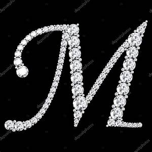 Carta de M feito de diamantes e pedras preciosas ...