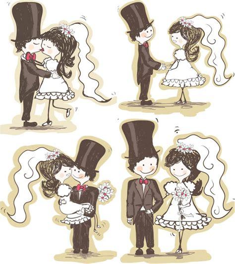 wedding couple vector desenho de noivos