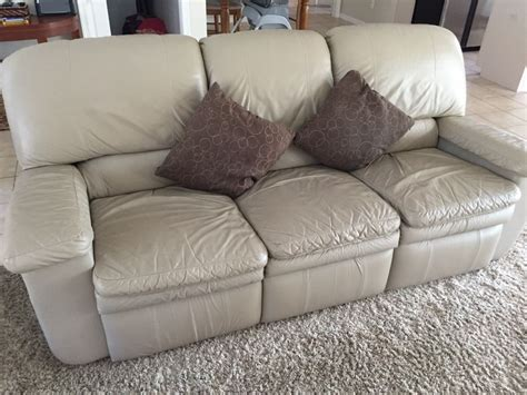 beige leather sofa and loveseat genuine leather recliner sofa beige color ebay