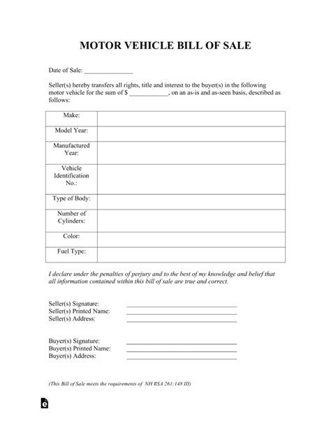 Nj Boat Bill Of Sale Pdf by Free New Hshire Motor Vehicle Bill Of Sale Form Pdf