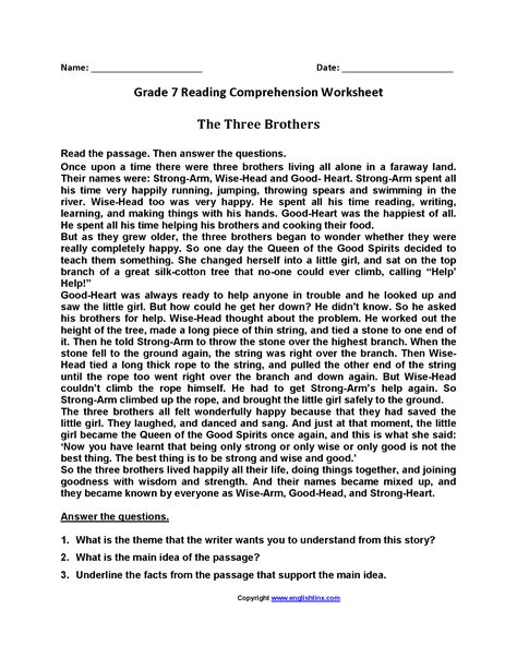 three brothers seventh grade reading worksheets hilma