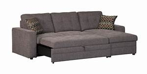 Coaster company gus grey small sleeper sectional sofa for Sectional sleeper sofa