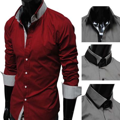 17   Men s Casual Double Collar Long Sleeve Shirt D. Red