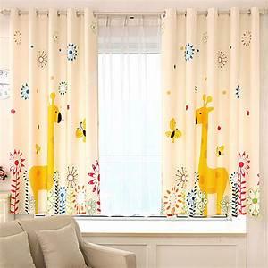 Aliexpresscom buy cartoon giraffe kids window curtains for Kids modern bedroom curtains